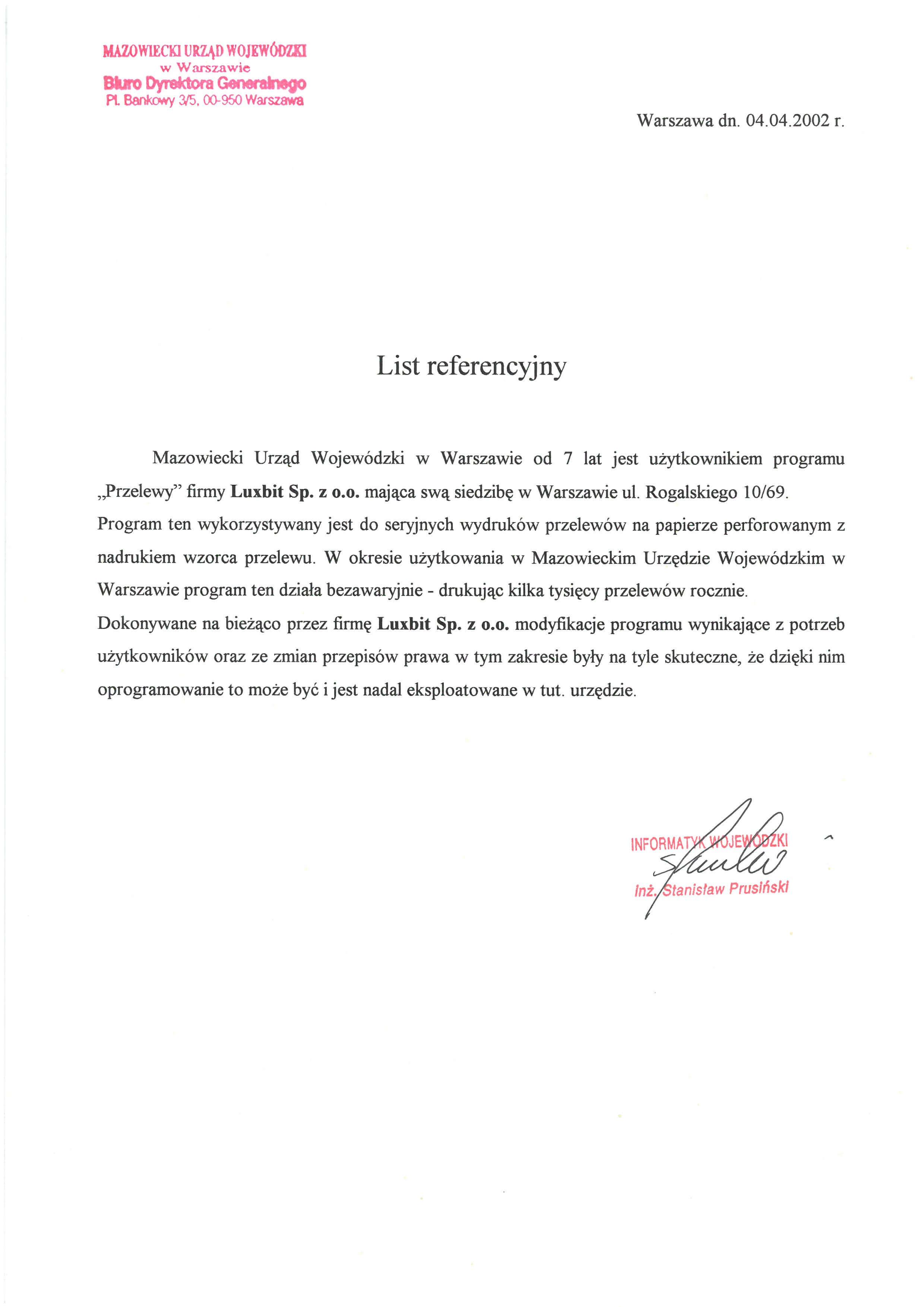 Referencje - Mazowiecki Urząd Wojewódzki
