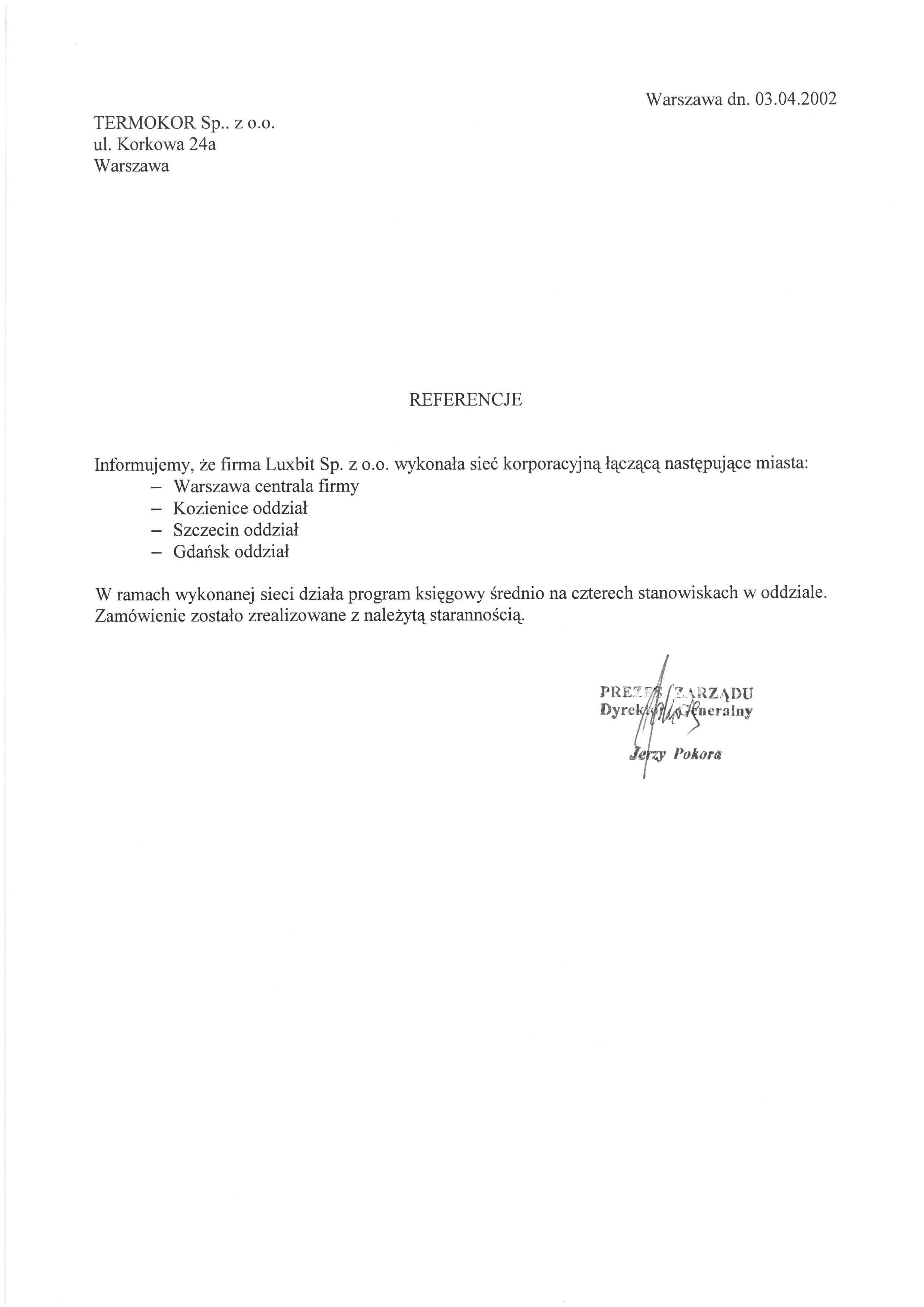 Referencje - Termokor